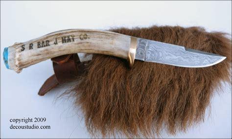 knife handforged damascus steel blade deer antler laser