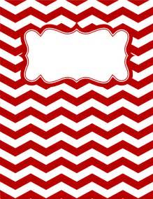 printable red and white chevron binder cover