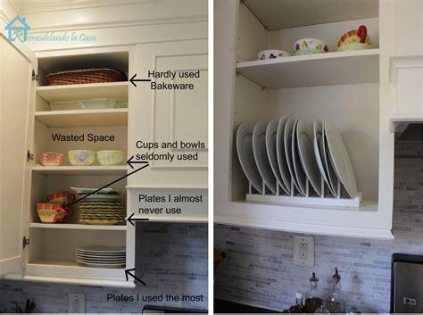 Plate Rack Cupboard - diy inside cabinet plate rack remodelando la casa