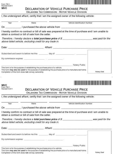 Oklahoma Vehicle Bill Of Sale Download Free Premium Templates Forms Sles For Pdf Formats Auto Bill Of Sale Oklahoma Template