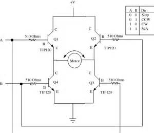 h bridge with 4 npn transistors tip3055 using a 12v electronics and electrical engineering