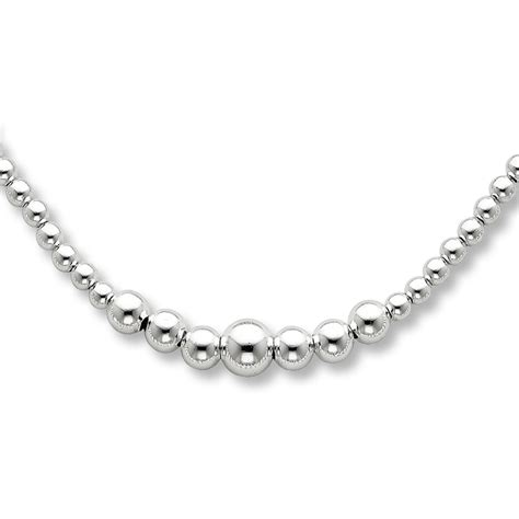 jared graduated bead necklace sterling silver 16 quot 18 quot length