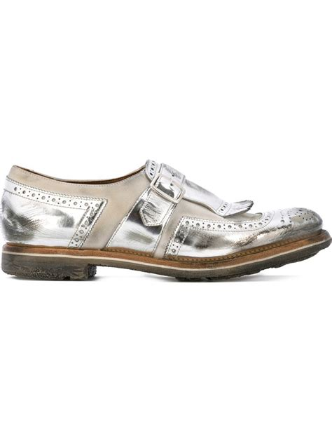 silver loafers metallic church s metallic leather loafers in silver grey save