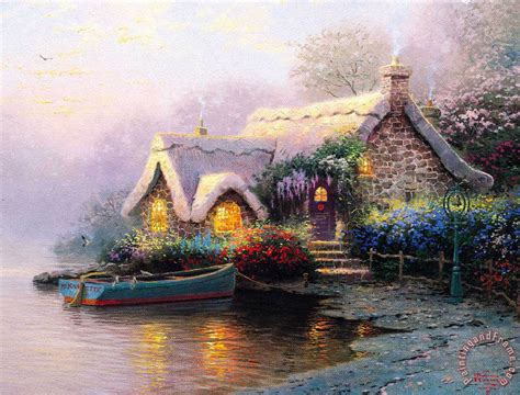 Thomas Kinkade Lochaven Cottage Painting Lochaven Cottage Paintings By Kinkade