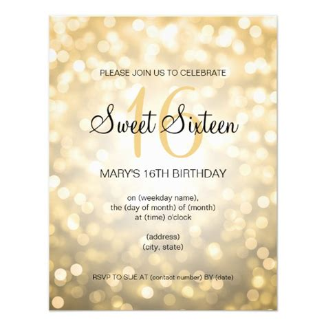 16th Birthday Card Template by Sweet 16 Birthday Gold Glitter Lights Card Zazzle
