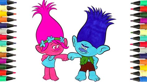 trolls coloring pages poppy and branch coloring with
