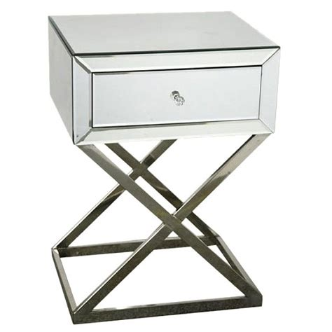 Mirrored Venetian Bedside Table Cross Leg, Free Delivery, coco54