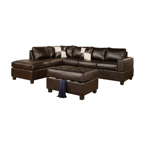 Soft Sectional Sofas Poundex Furniture F735 Bobkona Three Soft Touch Reversible Sectional Sofa Set Atg Stores