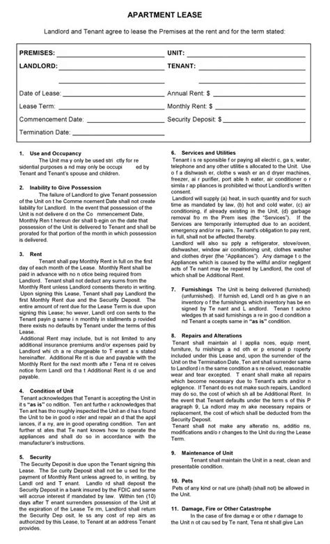 printable lease agreement nc printable apartment lease agreement best home design 2018