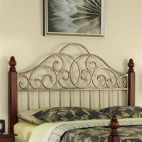gold metal headboard home styles st ives cinnamon cherry aged gold metal