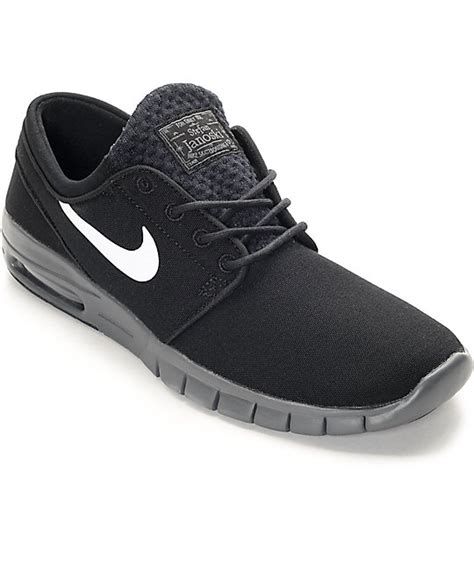 nike sb stefan janoski max black white grey shoes