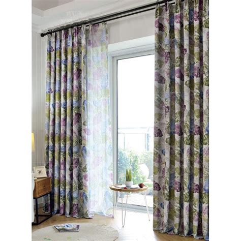 long bedroom curtains purple leaf print polyester shabby chic long curtains for