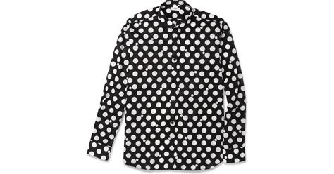 St Polka laurent polka dot print shirt in black for save 30 lyst
