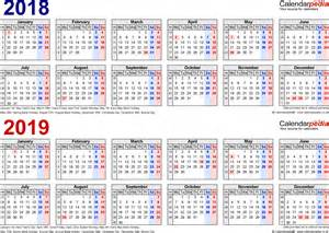 2018 Calendar In Excel Two Year Calendars For 2018 2019 Uk For Excel