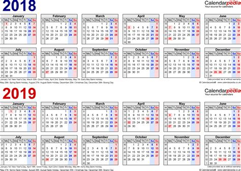 2 year calendar template two year calendars for 2018 2019 uk for excel