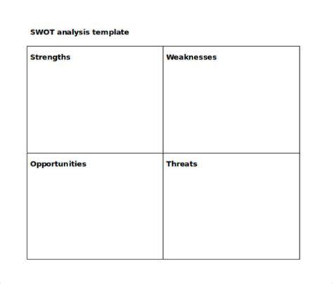 free swot analysis template microsoft word free swot analysis template word pdf calendar template