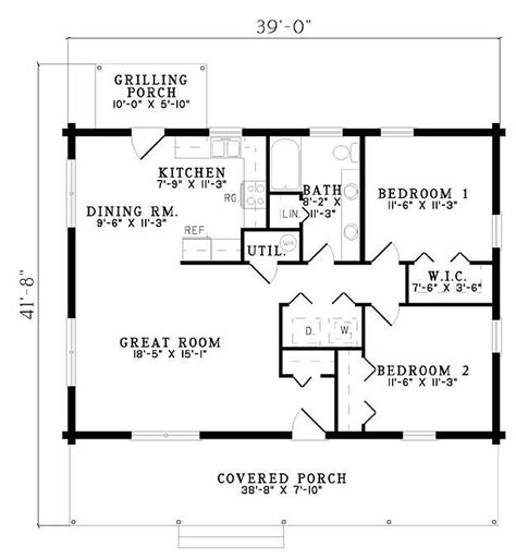 two bedroom two bathroom house plans plan 110 00919 2 bedroom 1 bath log home plan