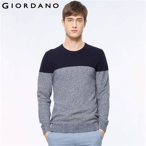 Sweater Giordano giordano crewneck sweater combed cotton pullover sleeves knitwear striped sweaters mens