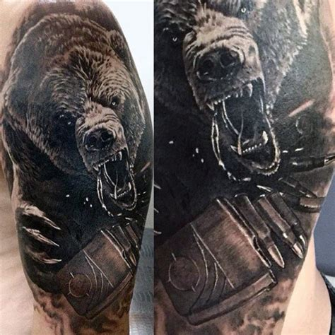 grizzly bear tattoos 60 designs for masculine mauling machine