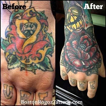 rose cover up hand tattoo by boston rogoz tattoos