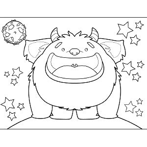 space monster coloring page smiling space monster coloring page