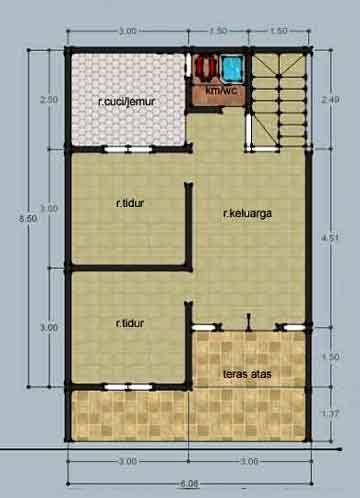 desain rumah ukuran 6x10 denah new denah gambar rumah ukuran 6x10