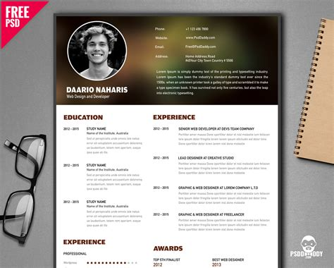 Free Creative Resume by Free Creative Resume Template Psd Psddaddy