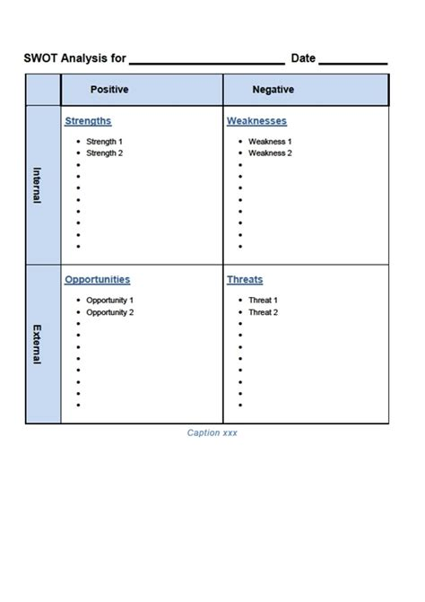 swot analysis template doc swot analysis template word swot template word