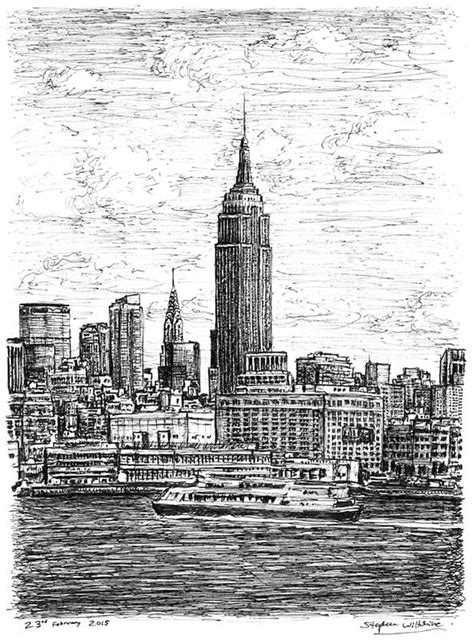 Empire State Building NYC - Original drawings, prints and