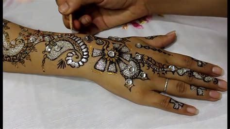 henna design with glitter glitter henna mehndi designs for hands youtube