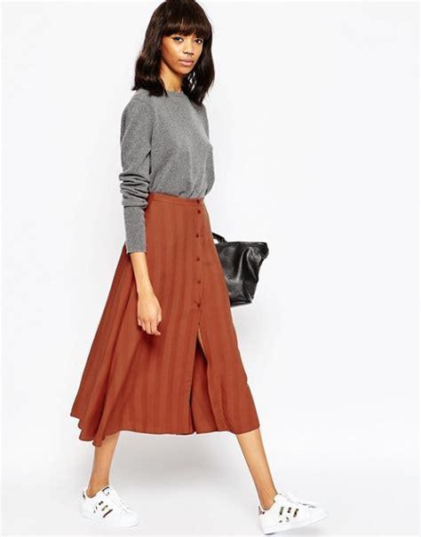 asos asos midi skirt with button through in self stripe
