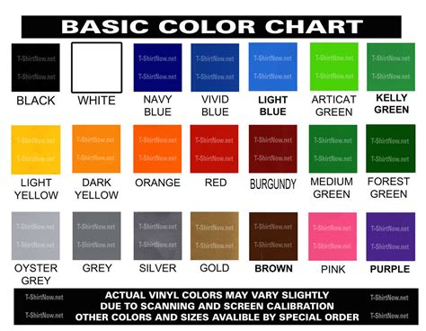 basic colors list 8 best images of basic color chart with names color
