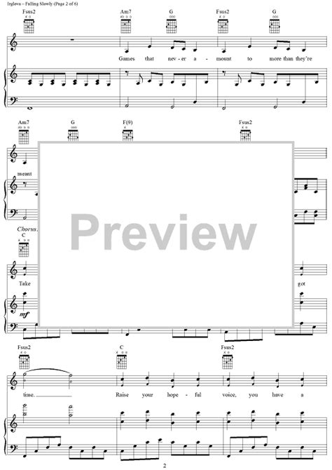 tutorial piano falling slowly falling slowly sheet music music for piano and more