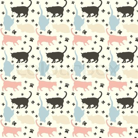 kitten pattern background stylish colorful cats pattern background vector