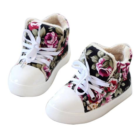 children thick flower floral baby high top canvas