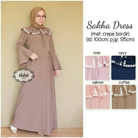 Baju Muslim Modern Sakha Dress   Grosir Baju Muslim Pakaian Wanita dan Busana Hijab Murah