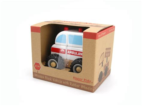 Rubber Pu014 Box 1 kaper kidz wooden block ambulance rubber wheels brand new