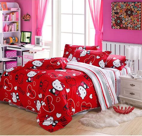 free shipping hello kitty queen size 100 cotton bedding
