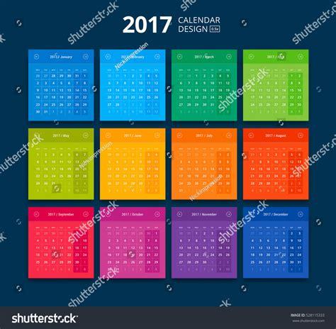 material design calendar vector vector 2017 calendar material design style stock vector