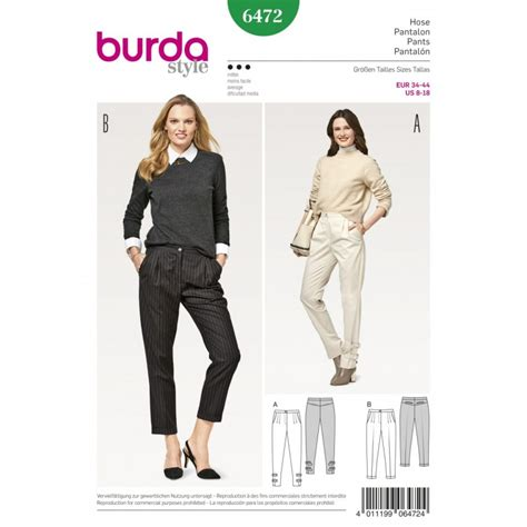 sewing pattern ladies trousers burda style women s smart casual pleated trousers dress