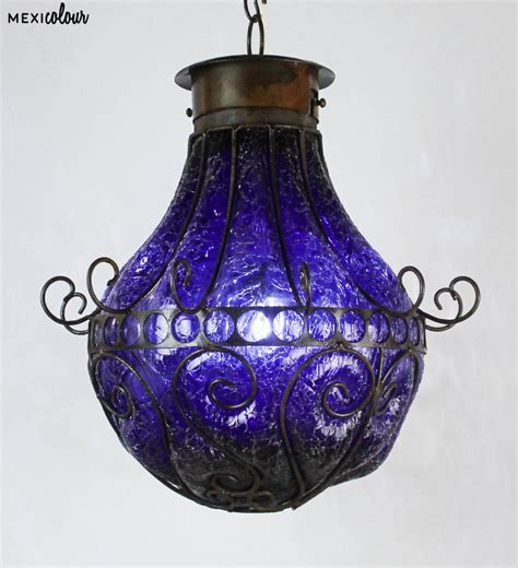 Hand Blown Crackled Glass Wrought Iron Mexican Pendant Mexican Pendant Light