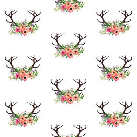 Maroon Deer Tribal Floral Deer Antlers Fabric By Shopcabin On Spoonflower