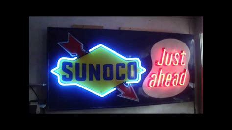 sunoco lighted signs for sale sunoco flashing neon mancave sign youtube