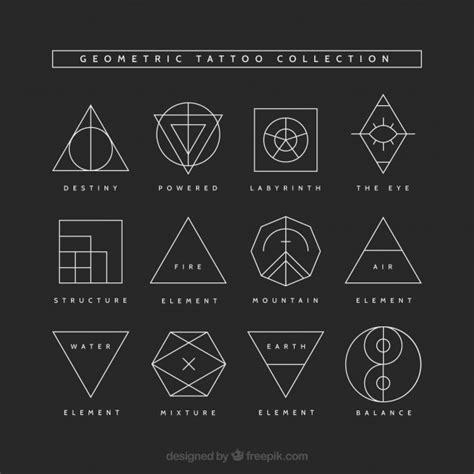 geometric tattoo collection vector free download