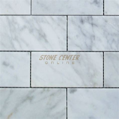 carrara white 2x4 grand brick subway mosaic tile polished