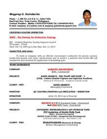 Pipeline Inspector Sle Resume by Resume Of Qaqc Inspector Coating Painting And Insulation