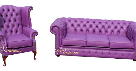 purple leather chesterfield sofa chesterfield 3 seater high back wing chair