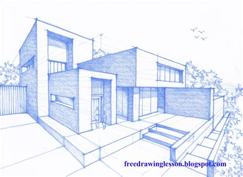 3d House Sketch draw a house in perspective youtube