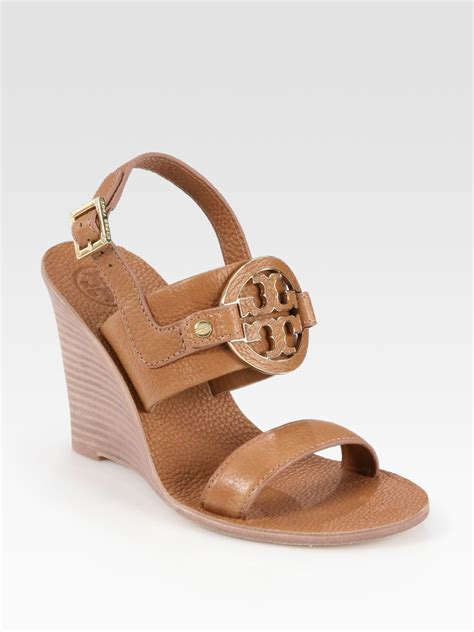 burch amanda sandal burch amanda leather logo slingback wedge sandals in