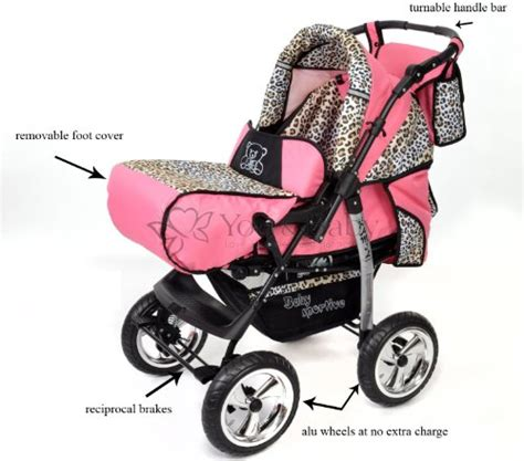 Carset 3in1 Animal Print 3 in 1 travel system with baby pram car seat pushchair accessories pink leopard baby